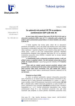 Za uplynulý rok poskytl ÚP ČR na podporu zaměstnávání OZP 4,38