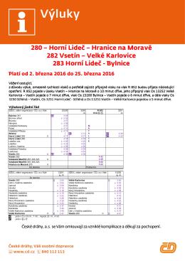 280 - Horní Lideč - Hranice na Moravě 282 - Vsetín