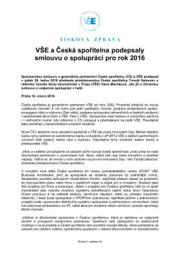 VŠE a Česká spořitelna podepsaly smlouvu o spolupráci pro rok 2016