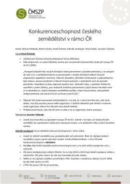Konkurenceschopnost českého zemědělství
