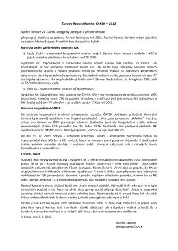 Zpráva Revizní komise ČAPEK – 2015
