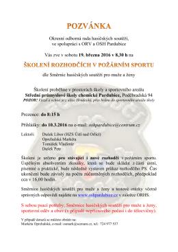 Pozvánka na školení rozhodčích v PS 19.3.2016