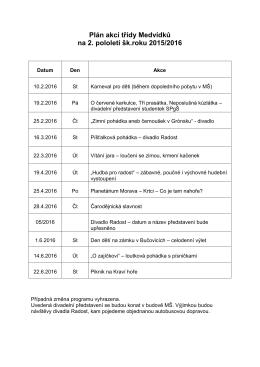 Plán akcí třídy Medvídků na 2. pololetí šk.roku 2015/2016