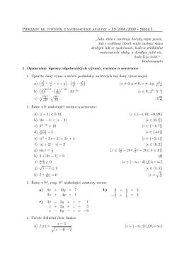 Příklady ke cvičením z matematické analýzy - ZS 2008/2009