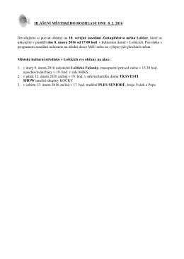 Hlášení městského rozhlasu dne 8.2.2016