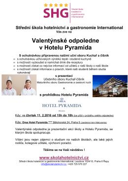 pozvánka zde - Střední škola hotelnictví a gastronomie Hotelu