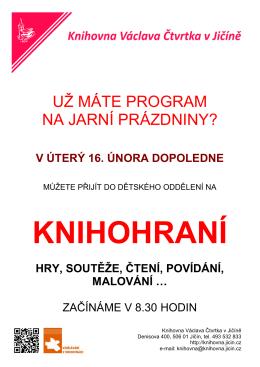 Knihohraní - Knihovna Václava Čtvrtka Jičín