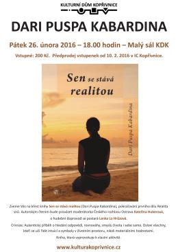 Pátek 26. února 2016 – 18.00 hodin – Malý sál KDK