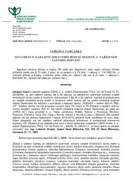 Zahájení správního řízení SR/0036/SL/2016 spojené s