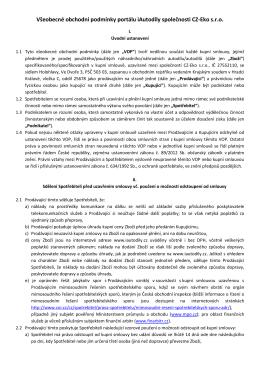 Všeobecné obchodní podmínky portálu iAutodíly společnosti CZ