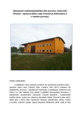 Významné vodohospodářské dílo provozu vodovodů Choceň