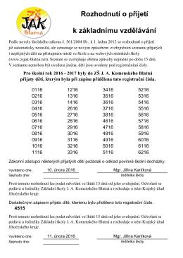 Seznam přijatých dětí - ZŠ JA Komenského Blatná