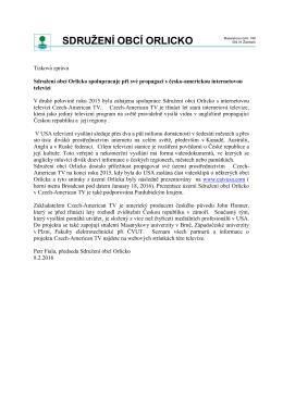 Tisková zpráva Sdružení obcí Orlicko