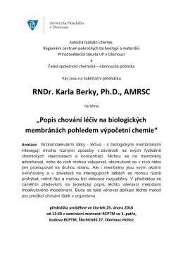 habilitační přednášku - Katedra fyzikální chemie