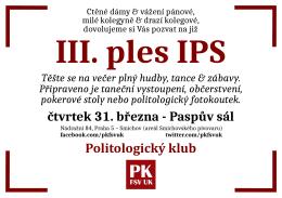 čtvrtek 31. března - Paspův sál Politologický klub