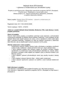Nejlepší škola ZŠ Dukelská – vybavení a modernizace pro