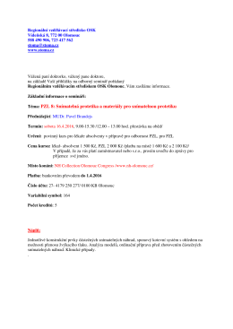 PZL 8: Snímatelná protetika a materiály pro snímatelnou protetiku