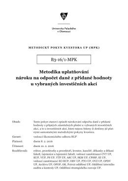 B3-16/1-MPK Metodika uplatňování nároku na odpočet daně z