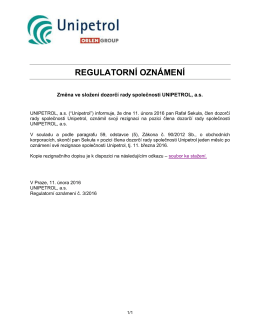 regulatorní oznámení