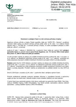 Zahájení správního řízení SR/0183/SC/2016 - výjimka