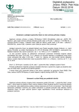 Zahájení správního řízení SR/0185/SC/2016 výjimka
