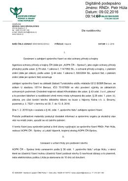 Zahájení správního řízení SR/0184/SC/2016 výjimka