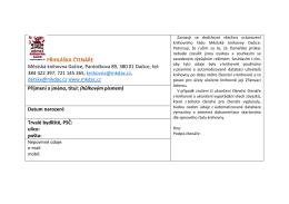 Přihláška pro čtenáře oddělení pro dospělé
