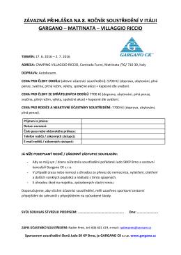 závazná přihláška na 8. ročník soustředění v itálii