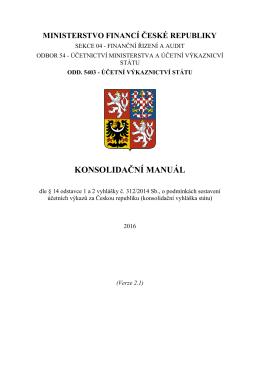 konsolidační manuál - Ministerstvo financí ČR