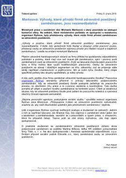 TZ MPSV - Ministryně Marksová k zaměstnávání OZP
