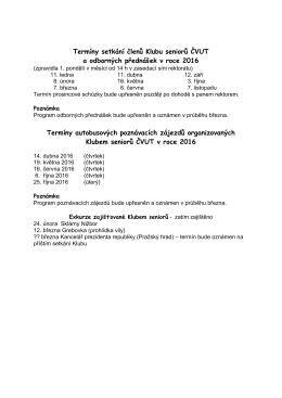 Program Klubu senioru CVUT pro rok 2016