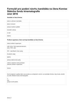 Formulář pro podávání návrhu Komise