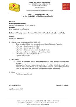 Zápis z 19. jednání školské rady