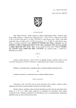 Č.j.: 110 Ex 5725/14-99 Sp.zn. zást. opr.