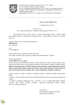 Exekutorský úřad v Teplicích, Husitská 692/3, 415 01 Teplice tel