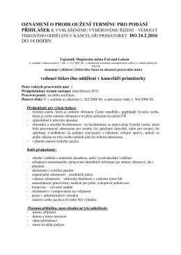 oznámení o prodloužení termínu - Statutární město Ústí nad Labem