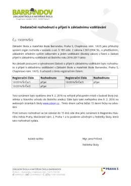 Rozhodnutí o přijetí. - Základní škola a mateřská škola Barrandov