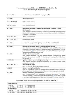 Harmonogram akademického roku 2015/2016 pro