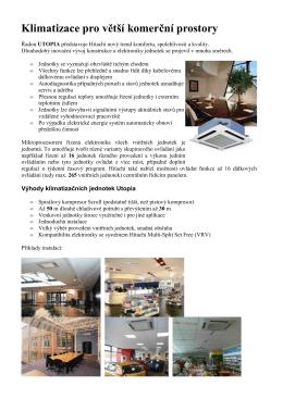 Klimatizace UTOPIA pro větší komerční prostory