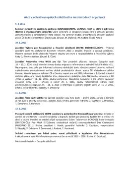 Akce v oblasti evropských záležitostí a mezinárodních organizací