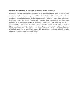 Společná zpráva UNESCO a organizace Conseil des Ventes