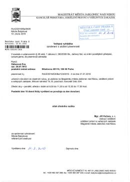 oznámení o uložení písemnosti pro: Gáborová Eva