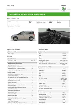 Yeti Ambition 2.0 TDI 81 kW 5-stup. mech.
