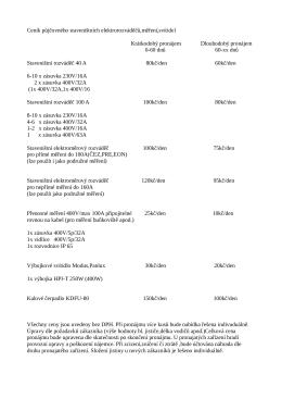 Ceník půjčovného staveništních elektrorozváděčů,měření