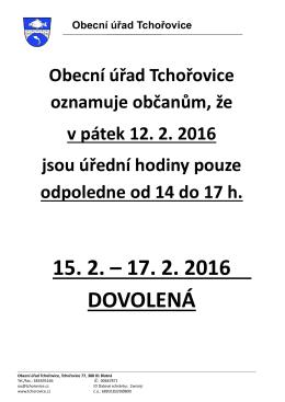 Změna úředních hodin OÚ Tchořovice