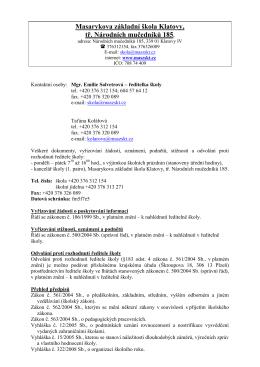 Masarykova základní škola Klatovy, tř. Národních mučedníků 185