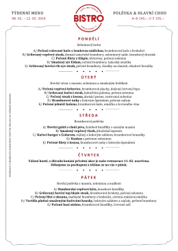 Polední menu PROHLÉDNĚTE SI MENU