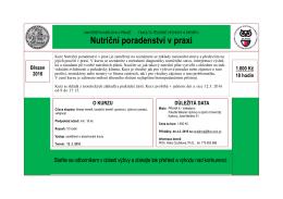 Nutriční poradenství v praxi - Fakulta tělesné výchovy a sportu