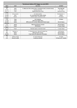 Termínová listina VK Vajgar na rok 2016