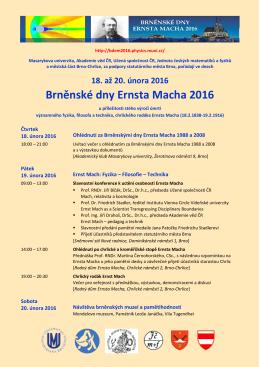 18. až 20. února 2016 Brněnské dny Ernsta Macha 2016